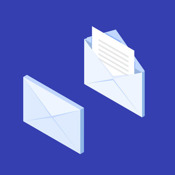 Isometric envelope icon. Get E-mail concept, notification, New Message. Vector illustration