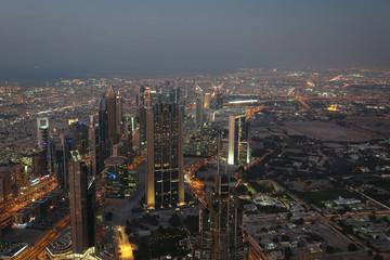 View on evening Dubai downtown, United Arab Emirates