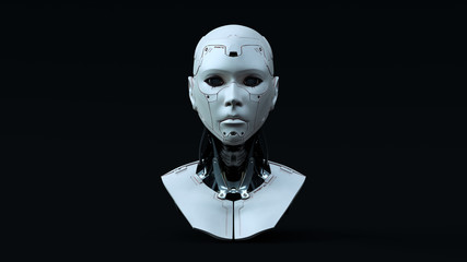 Cyborg with Blue Neutral lighting  Front 3d illustration 3d render