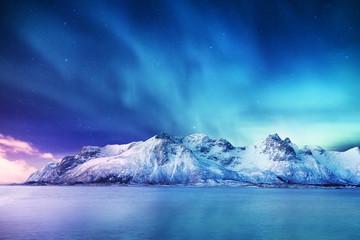 Obraz Zorza polarna na Lofotach w Norwegii - fototapety do salonu