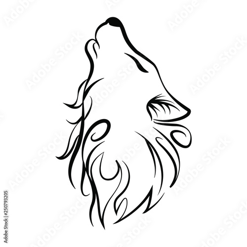 Wolf Head Howl Design Tribal Tattoo Stock Image And Royalty