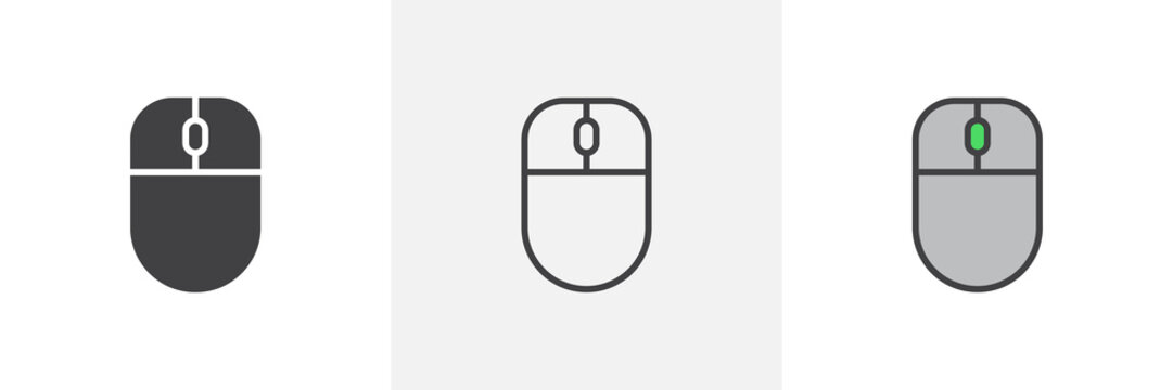 Computer mouse icon. Line, glyph and filled outline colorful version, mice outline and filled vector sign. Symbol, logo illustration. Different style icons set. Pixel perfect vector graphics