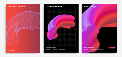 Abstract design templates with 3d flow shapes Wall mural