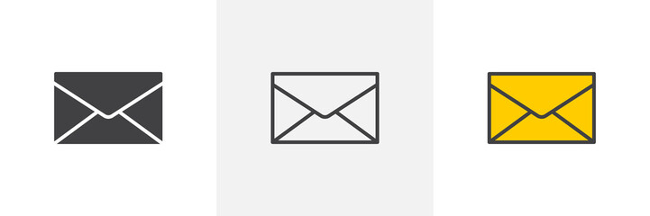 Obraz Envelope mail icon. Line, glyph and filled outline colorful version, post envelope outline and filled vector sign. Message, mail symbol, logo illustration. Different style icons set. Pixel perfect  - fototapety do salonu