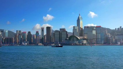 Fotomurales - Skyscrapers and Victoria's harbor, Hong Kong.