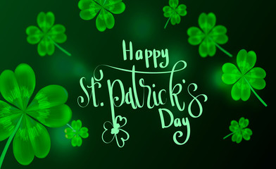 background with letters on the subject of holiday, happy St. Patrick day. green card.