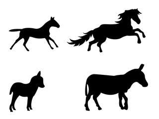 Vector set of silhouetted donkeys and horses