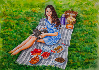 Watercolor painting - a girl on a picnic is sitting on a plaid on the grass, next to her is food