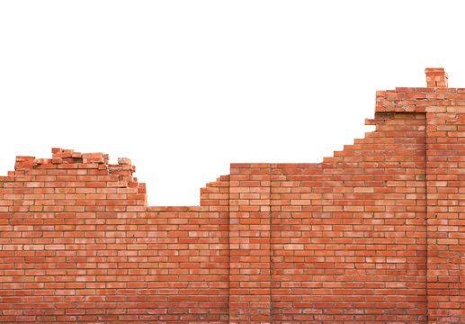 Brick wall under construction on white background