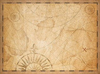 Wall Mural - old nautical hidden treasure map background