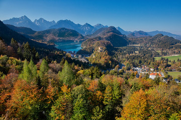 View from Neuschwanstein castle to Alpsee and Hohenschwangau castle