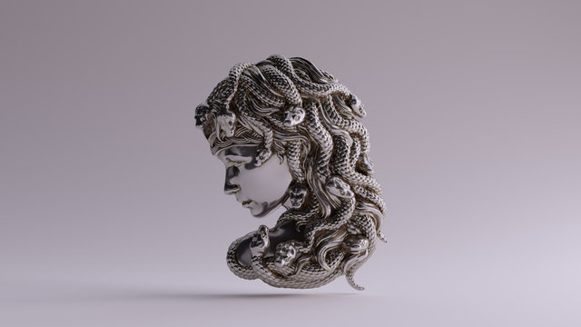 Antique Silver Medusa Bas Relief 3d illustration 3d render