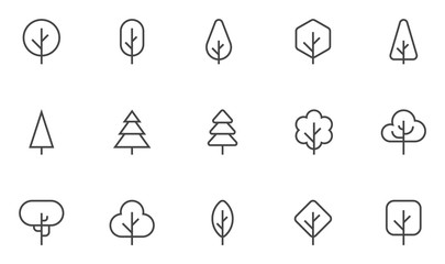 Tree Vector Line Icons Set. Forest, Park and Garden Trees Collection. Coniferous And Deciduous Trees. Editable Stroke. 48x48 Pixel Perfect.