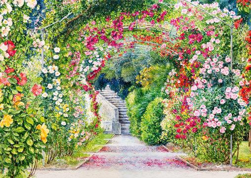 Flower garden. Watercolor botanical illustration.