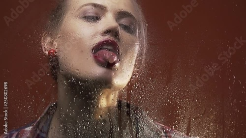 Blonde Woman With Red Lipstick And Amazing Retro Hairstyle Is
