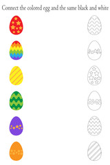 Find pairs of identical colored and black white pictures, fun education game with easter eggs for children, preschool worksheet activity for kids, task for the development of logical thinking, vector