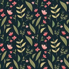 Seamless floral pattern. Folk flowers background. Vector illustration.