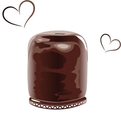 Schokolade Schokokuss Schaumkuss Süßigkeiten. Großer Schokokuss, Schaumkuss mit Herzen. Für alle die Süßigkeiten und Schokolade lieben.