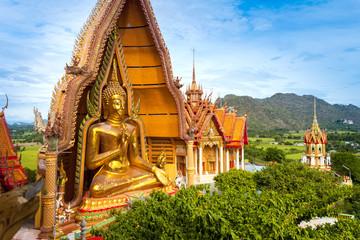 Big golden Buddha in Wat Tham Sua, Kanchanaburi Thailand