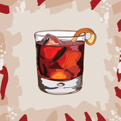 Negroni Contemporary classic cocktail illustration. Alcoholic bar drink hand drawn vector. Pop art