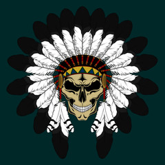 Indian skull in a crown of feathers. Color vector image.