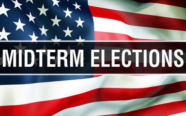 constituency election on a USA background, 3D rendering. United States of America flag waving in the wind. Voting, Freedom Democracy, constituency concept. US Presidential election banner background