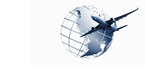 world logistics,  world map background and airplane is flying f Transportation, import-export and logistics, Travel concept Wall mural
