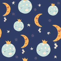Seamless pattern with cute moon, planet and stars. Kids textile print. Vector hand drawn illustration.
