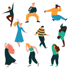 Dancing People Collection, Young Men and Women Dancing Modern and Classical Dance, Male and Female Characters Having Fun at Party Vector Illustration
