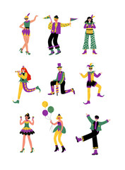 Circus Artists Set, Stage Comedian Performer in Bright Costumes Performing at Show Vector Illustration
