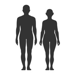 Silhouettes of men and women on a white background.
