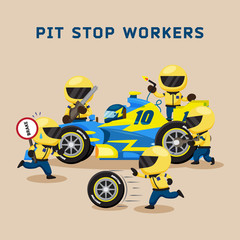 Colorful illustration with pit stop workers and engineers maintaining technical service for a racing car during competition event.