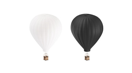Fotobehang Ballon Blank black and white balloon with hot air mockup set, isolated, 3d rendering. Empty airship with gasbag mock up. Clear ballon for adventure or expedition. Transportation on large dirigible template.
