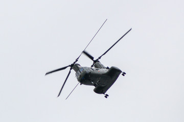 Chinook military helicopter in flight