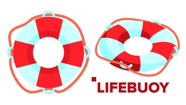 Lifebuoy Vector. Classic Summer Beach Support. Isolated Flat Cartoon Illustration