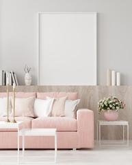 Mock up poster in warm home interior background, springtime, 3d render