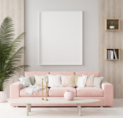Mock up poster in warm home interior background, springtime, 3d render