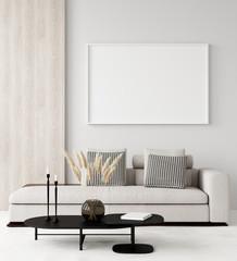 Modern home interior, mock up canvas, 3d render
