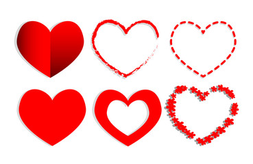 Set of red Hearts shape.