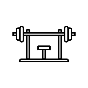 bench press workout icon. fitness equipment for chest muscle exercise in gym. simple monoline vector graphic.