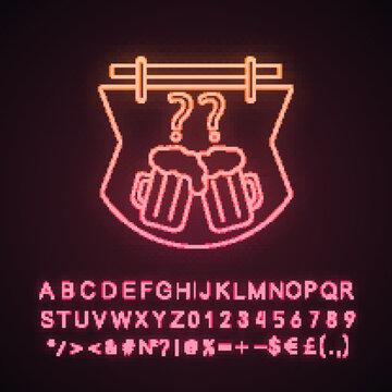 Pub quiz neon light icon