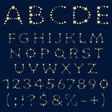Alphabet, letters, numbers and signs of yellow stars. Isolated vector objects.