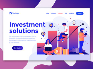 Landing page template of Investment solutions. Modern flat design concept of web page design for website and mobile website. Easy to edit and customize. Vector illustration