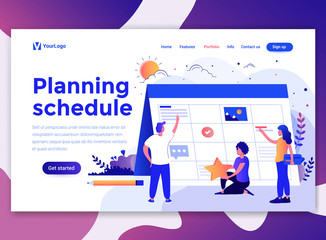 Landing page template of Planning Schedule. Modern flat design concept of web page design for website and mobile website. Easy to edit and customize. Vector illustration