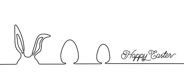 Happy Easter bunny greeting card in simple one line style with text celebration word sign. Copy space. Rabbit vector illustration. Black and white minimal concept
