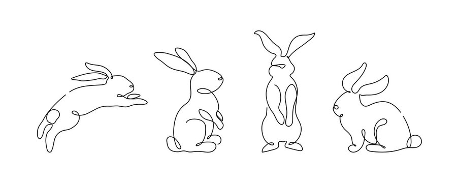 Easter bunny set in simple one line style. Rabbit icon. Black and white minimal concept vector illustration