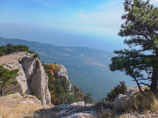 Beautiful mountain landscape from Crimean highest mountain Ai-Petri. The white rock massif in left and fragment of pine in right. Place for your text.