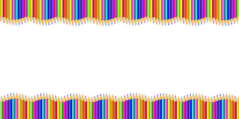 Double Wavy Border Made of Colored Wooden Pencils