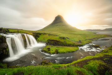 Wall Murals Waterfalls Kirkjufell mountain landscape in Iceland summer.