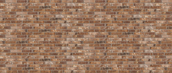Long wide old dirty red brick wall texture background. Horizontal panoramic view.